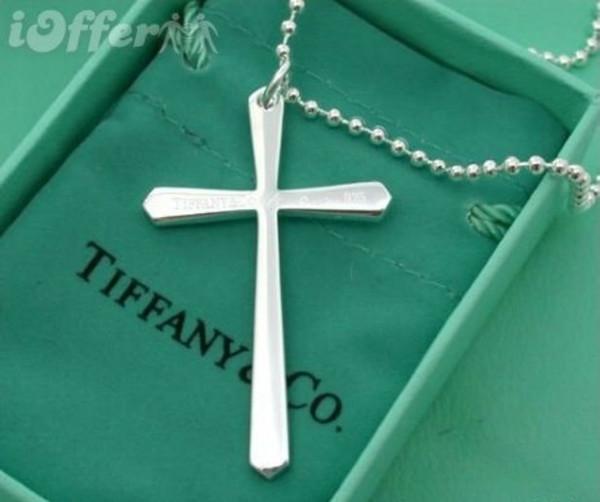 Мода женская ювелирные изделия Марка дизайнер tiffany925 стерлингового серебра сверкающие 925 серебро Христианское ожерелье кулон крест стиль с коробкой продажи