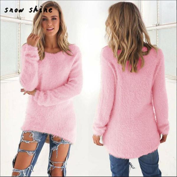 Snowshine #3065 женская повседневная твердые с длинным рукавом джемпер свитера блузка Б фото