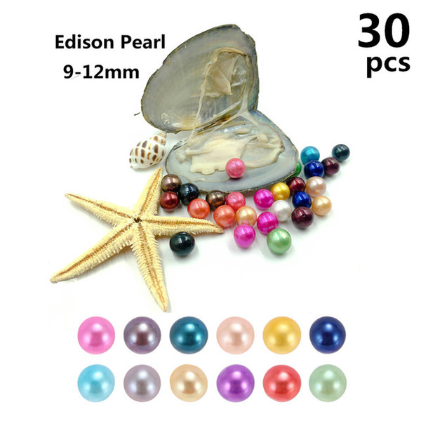30pc lot new rainbow 9 12mm edi on pearl in fre hwater oy ter wi h pearl meaning funny birthday gift for women party diy jewellery