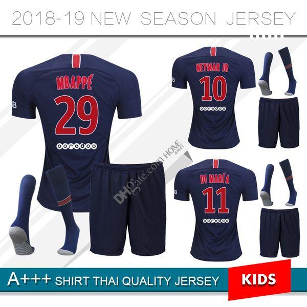 2018 2019 pari kid kit occer jer ey 18 19 neymar jr mbappe home verratti cavani di maria maillot de foot child football hirt