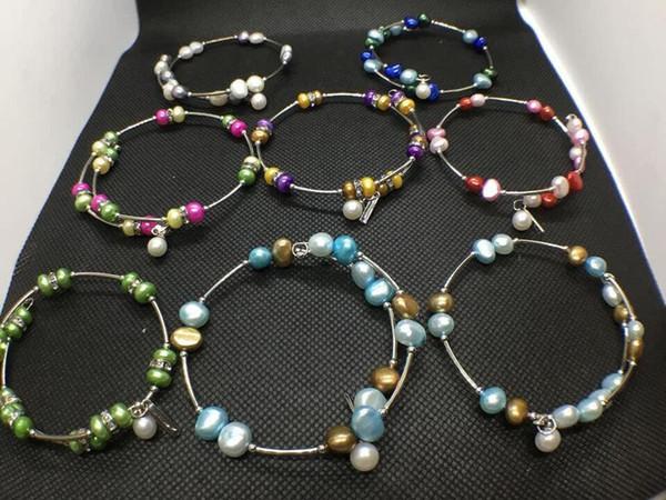 10 цветов пресноводные жемчужные бусины браслет натуральный жемчуг ювелирные изд