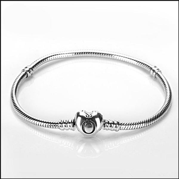 2018 New Original 925 Silver heart clasp Beads Charm Bracelets Fit European Pandora heart Charms Bracelet DIY Fashion Jewelry