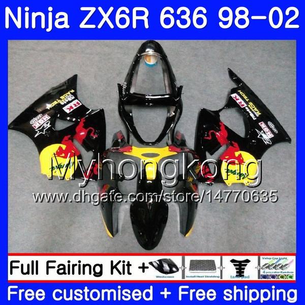 Zx 6r yellow red blk for kawa aki ninja zx 636 zx636 zx6r 98 99 00 01 02 212hm 41 zx600 600cc zx 6r 636 6 r 1998 1999 2000 2001 2002 fairing