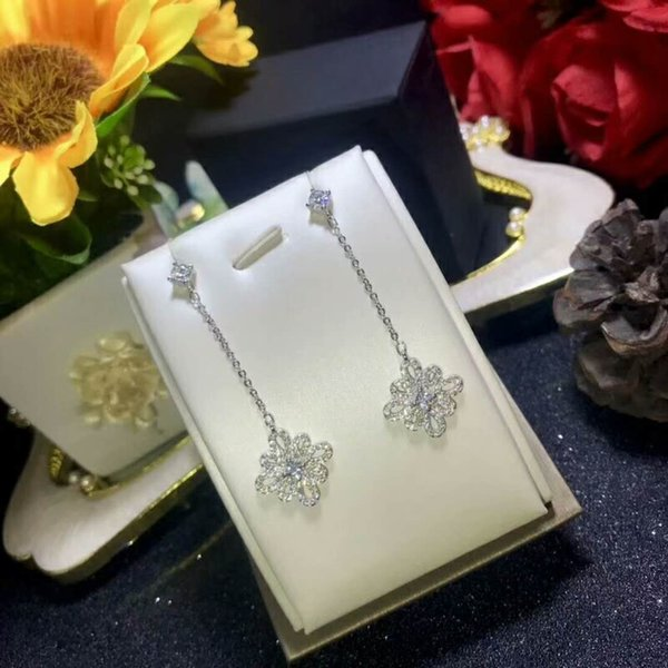 Flower now hape cute lovely long hanging dangling tud earring zircon hinning cubic tone young lady 925 ilver
