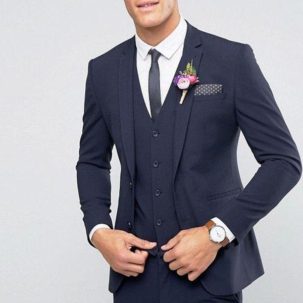 Красивый На Заказ Темно-Синий Свадебные Костюмы Лучший Человек Блейзер Смокинги фото
