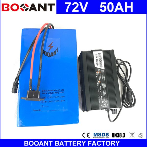 Booant e bike battery 72v 50ah 3000w electric bicycle battery 18650 cell 72v 50ah with 84v 5a charger 50a bm eu u duty