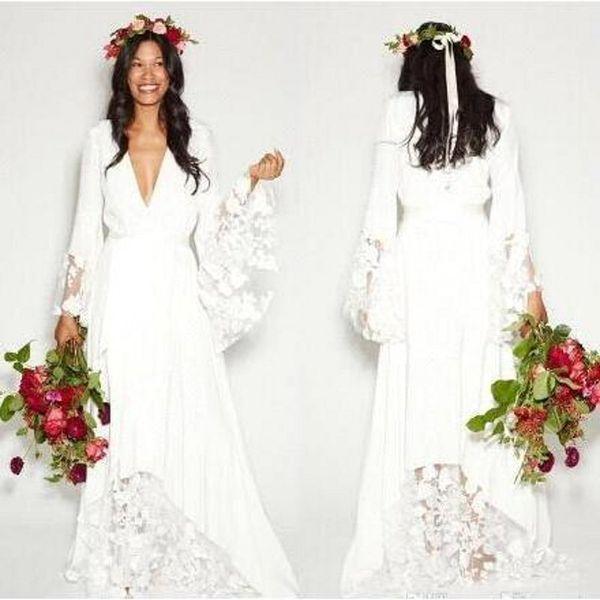 2019 простой чешский страна свадебные платья с длинными рукавами глубокий V шеи этаж лето бохо хиппи пляж Западная свадебное свадебное платье BA2541