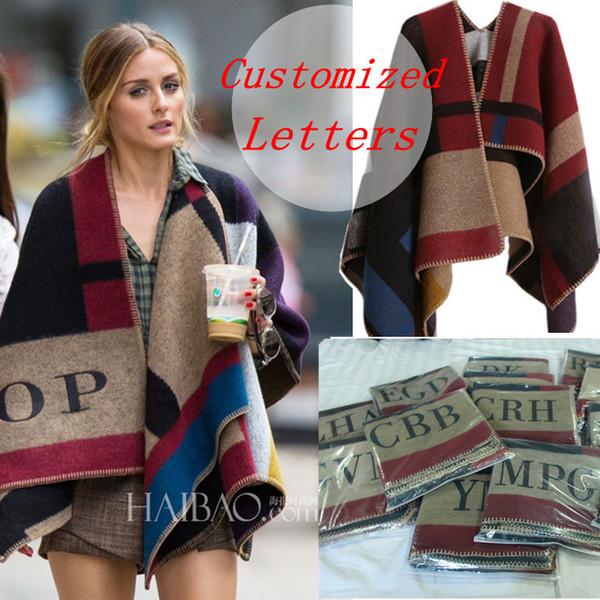 Марка женщины пончо кашемир шерстяной шарф монограммой пончо Мыс плед зима прове фото