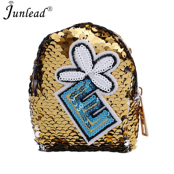 junlead new sparkly sequins female flower coin purse letter pocket change wallet for girl key chains cute trendy card coin purse (421961556) photo