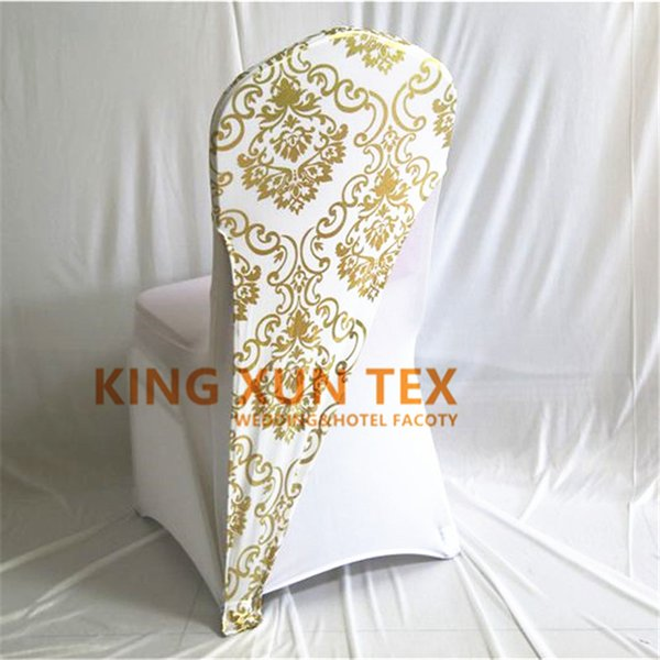 100pc  gold or  ilver color bronzing coated lycra  pandex chair hood   cap for wedding chair cover decoration