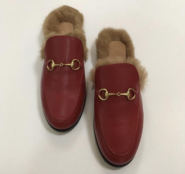 2019 luxuryshoes Новые дешевые Обувь Меховые Мула Металлические Цепные тапочки Роскошны фото