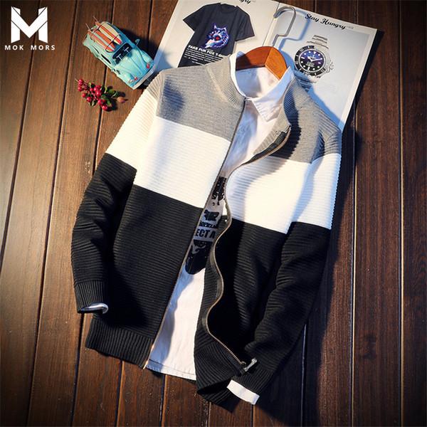 Осень Мужская Новая Личность молнии Дизайн колющие хлопок мужские свитера тавра