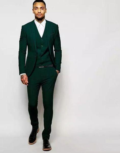 Пользовательские Темно-Зеленый Slim Fit Мужские Костюмы 2018 Свадьба Жених Смокинги Gro фото