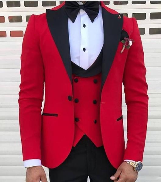 Индивидуальный дизайн красный 3 шт костюм мужской свадебные смокинги отличный же фото