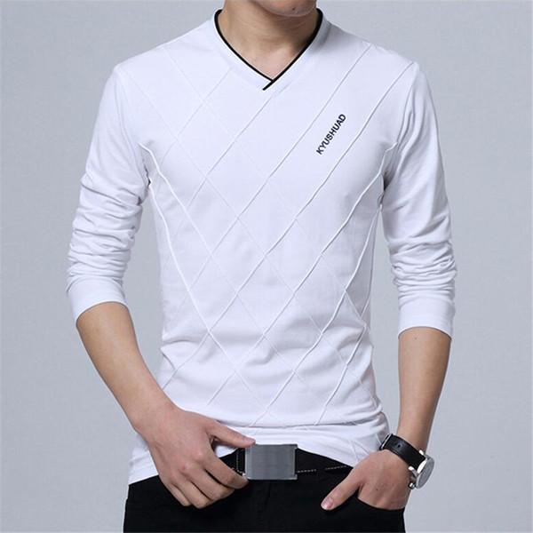 Мужчины с длинным рукавом Slim Fit футболка мода складки дизайн стильный роскошный V фото