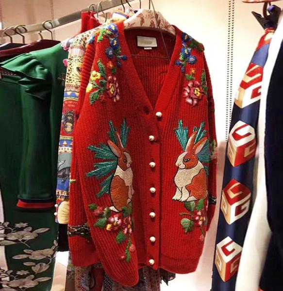 117 Бесплатная доставка 2018 осень бренд же стиль кардиган Красный вышивка с длинным фото