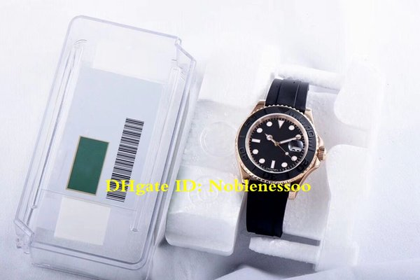 2 Color ETA 3135 Automatic Movement Watch Top Luxury Mens 40mm 116655 YachtMaster 18k Rose Gold Rubber Bands 904L Watches