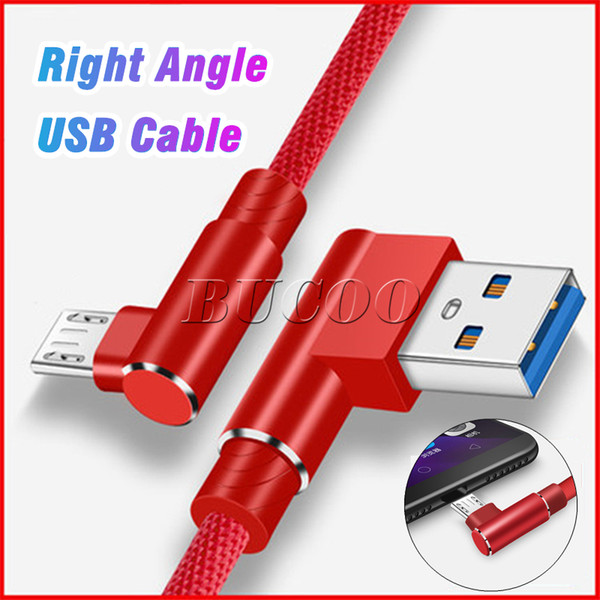 2019 new right angle type c micro u b leather cable 2 4a fa t charging charger cord 1m 90 degree bend connector wire for  am ung xiaomi