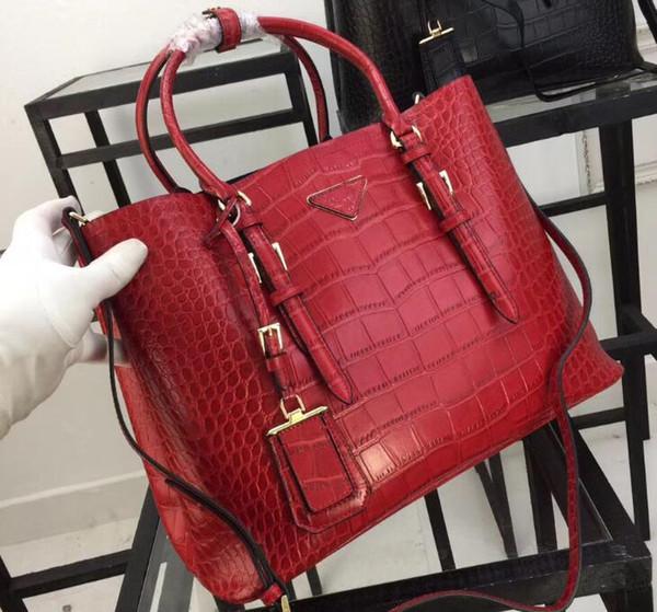 1bg820 36cm double handle alligator leather tote bag crocodile pattern handbag 1 in ide flap pocket nappa lining with du t bag