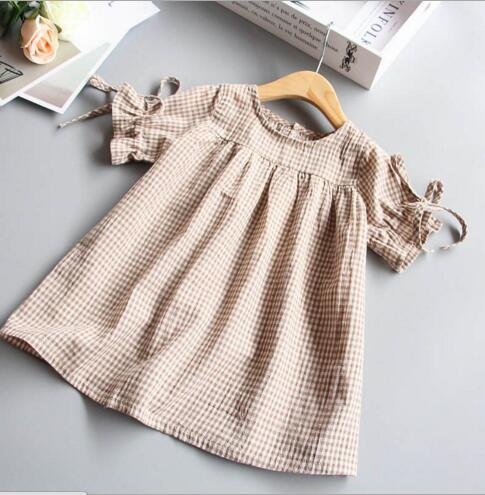 INS hot selling summer girl kids plaid print khaki dress kids round collar short sleeve elegant dress free ship