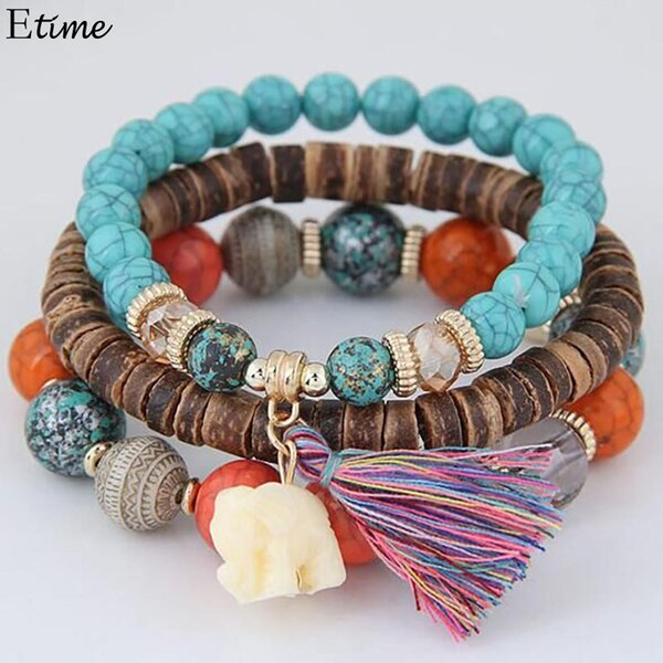 elephant_animal_tassel_pendant_3pcs_set_bracelets_elastic_bracelets