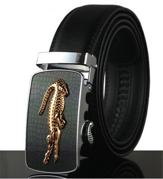 Famous Brand Belt Men Business Genuine Luxury Leather Belts for Men Waiststraps Male Metal Automatic Buckle Crocodile Belts 110-130cm