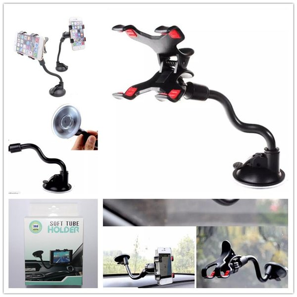 Car mount long arm univer al wind hield da hboard mobile phone car holder 360 degree rotation car holder with trong uction cup x clamp