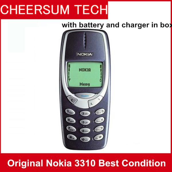 Dhl refurbi hed original nokia 3310 cell phone g m 900 1800 dualband game  4 unlocked nokia phone with retail box