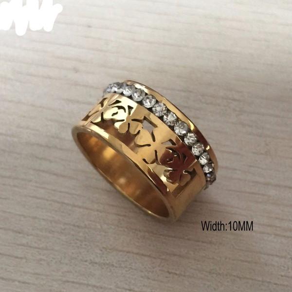 Один ряд кристалл алмаза кольцо 316L титана стали цветок кольцо 18k золотое покрытие фото