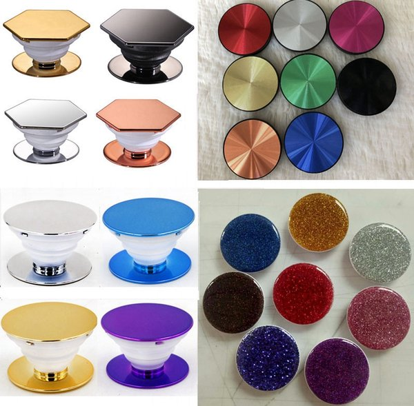50pc  4  tyle  cartoon plating glitter hexagon univer al cell phone holder grip airbag expandable grip phone holder 3m glue with opp bag