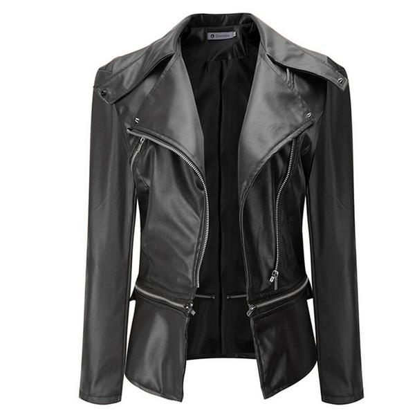 Весна Осень Новая Мода Черная Кожаная Куртка Для Женщин Тонкий Короткий Кожезаме
