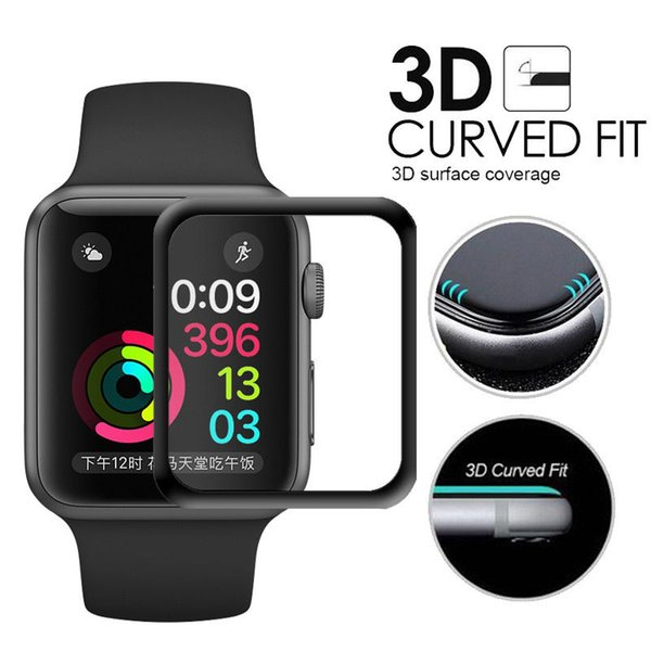 Screen protector for apple watch  erie  4 3 2 1  urface hardne   full coverage glue tempered gla    creen protector   black