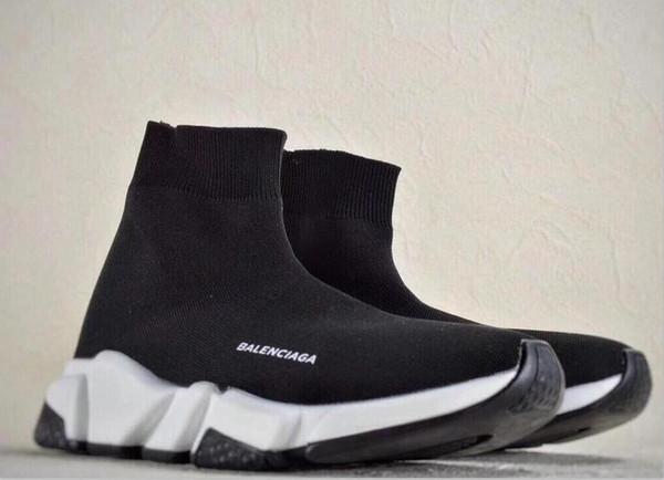 Высокое качество 2018 Мужская спортивная обувь плоские модные роскошные носки сапоги женщина новый скольжения на эластичной ткани скорость тренер бренд кроссовки