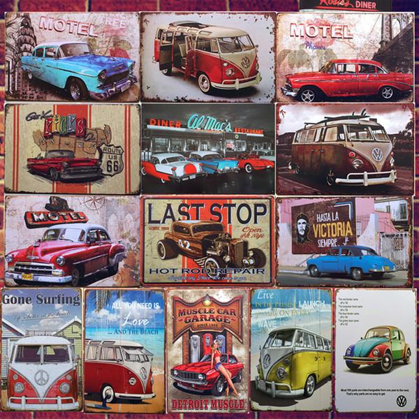 Car bu vw combi wagon retro plaque wall decor for bar pub home vintage metal po ter plate metal ign painting 20 30cm