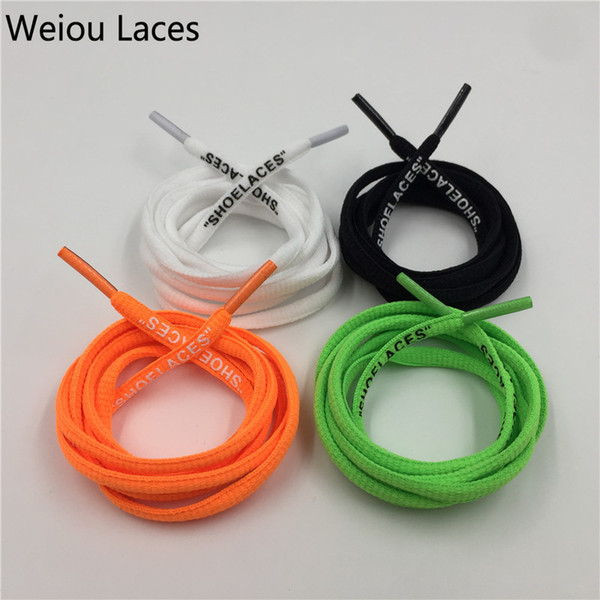 "Weiou New Arrive Black Green Orange White Semicircle Printing ""SHOELACES"" Single Head Shoelace Unique Laces For Women Kids Men Shoe"