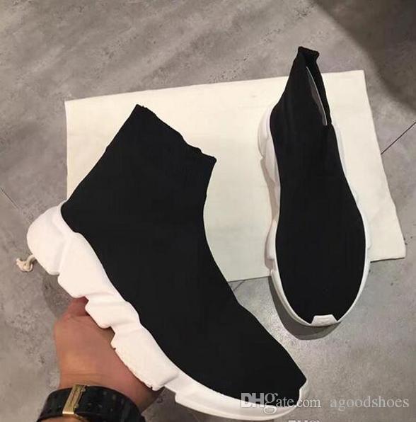 Название бренда высокое качество мужская Повседневная обувь плоские модные носки сапоги женщина новый скольжения на эластичной ткани скорость тренер Бегун человек обувь открытый