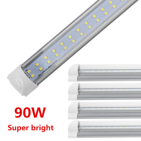 Led tube light 8ft 90w double ide integrated bulb lamp work without t8 balla t plug and play 5000k 6000k clear milky cover 25pc