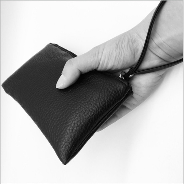 2018 pu leather bag zipper clutch coin purse simple black men women wallets phone wristlet portable handbag for parties shopping (431084435) photo