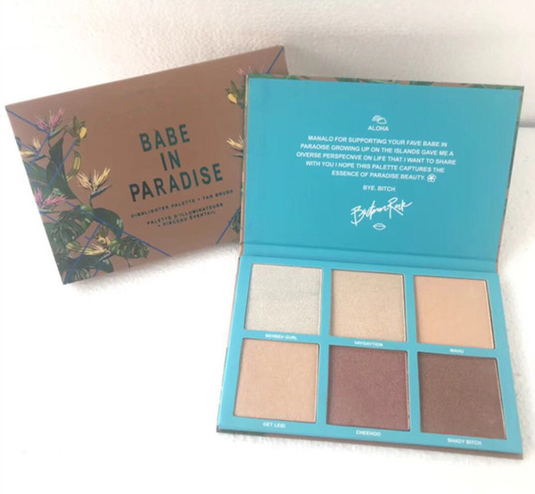 Brand makeup face highlighter 6color palette babe in paradi e bronzer highlighter co metic makeup dhl hipping