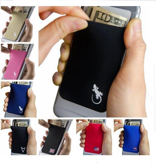 Эластичного Эластичного Lycra сотового телефона бумажник чехол кредитных ID карта д фото