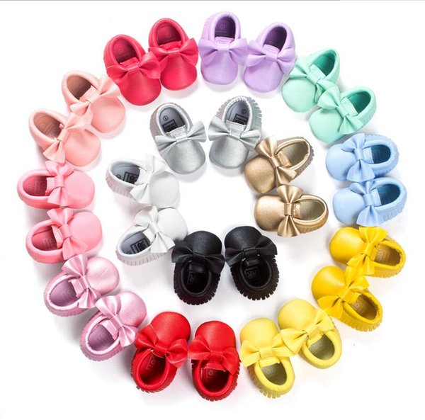 20 Color Baby moccasins soft sole PU leather first walker shoes baby newborn shoes Tassels maccasions toddler shoes