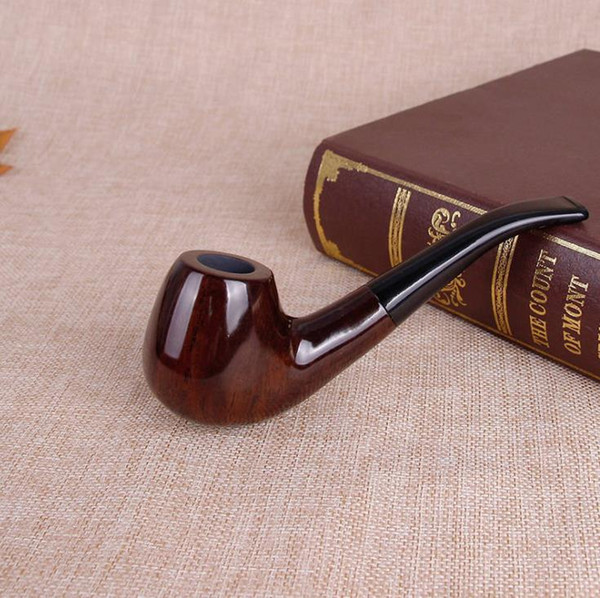 Classical wood bent tobacco pipe wooden man hammer tobacco pipe ebony tobacco stem