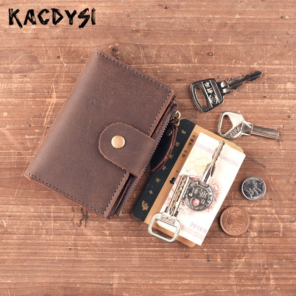 handmade real cow leather retro key wallet unique key bag zipper case holder multifunctional keyring pouch coin purse (425643192) photo