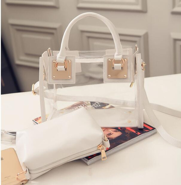 fashion summer beach bag transparent pvc lady tote bags with purse jelly candy color handbag girl women phone iphone wallet zipper bags (414933424) photo