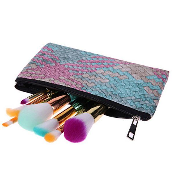 beautiful handy cosmetic pouch clutch makeup bag handmade woven pu purses for women and girls, perfect gift bag fashionable bags (414939368) photo