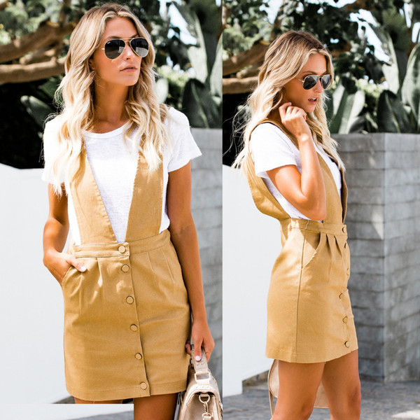 2018 new style fashion women Straight mini skirt casual Yellow button pencil strap short skirts