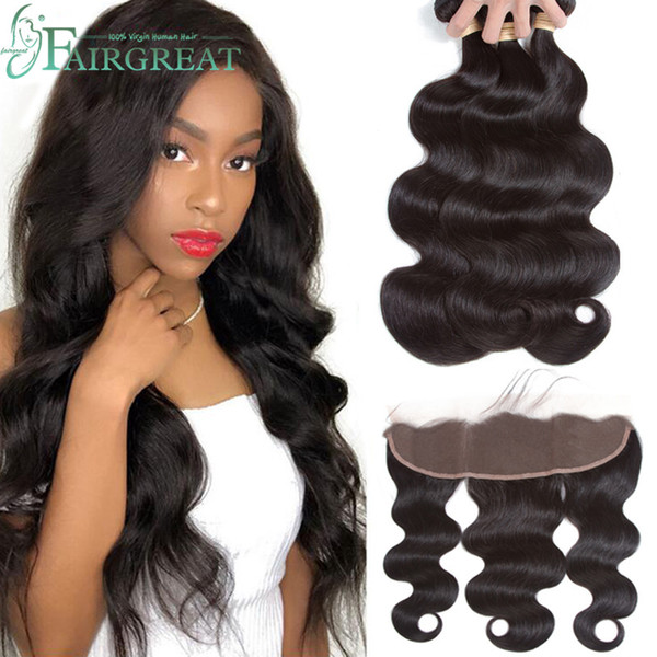 Brazilian body wave bundle with frontal 100 unproce ed virgin hair 3 bundle with lace frontal clo ure natural color hair exten ion