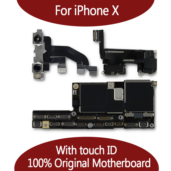 For iphone x 10 100  unlocked original motherboard with face id 64gb 256gb io  logic board with full chip  mainboard for replace