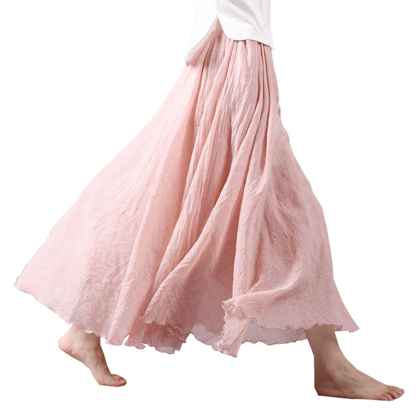 2017 Fashion Design Summer Women Skirt Linen Cotton Vintage Long Skirts Elastic Waist Boho Beige Pink Maxi Skirts Faldas Saia