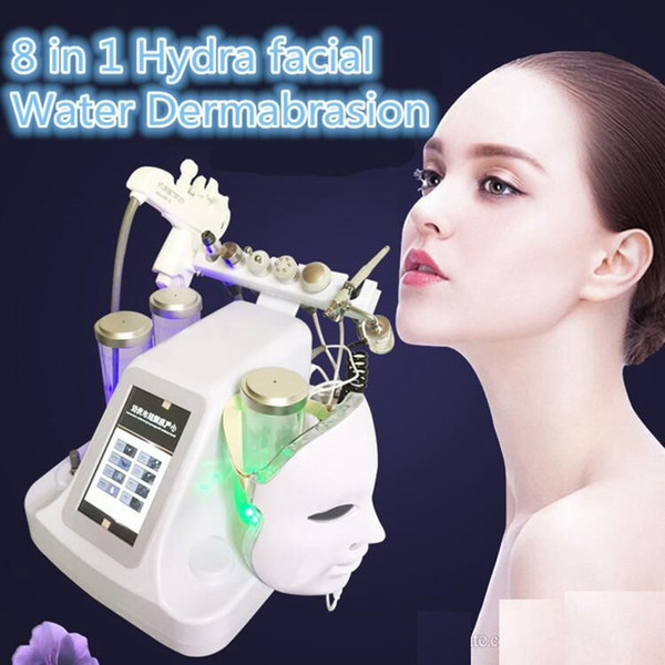 New 8 in 1 me otherapy rf water hydrafacial dermabra ion kin clean ing led pdt ma k oxygen jet cold hammer bio face lift ultra onic machine